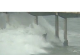 Surfer Rides Monstrous Waves During California Storm