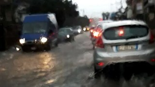 Torrential Rain Floods Roads in Catania, Sicily - Video