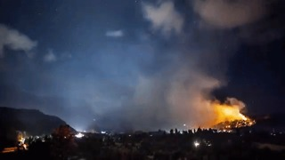 Suncrest Fire Burns Through the Night - Video