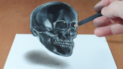 Drawing a levitating 3D crystal skull