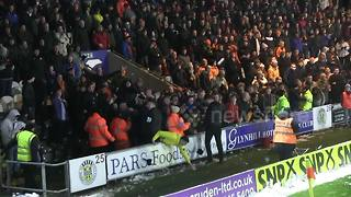Scottish football fans have snowball fight at St Mirren Park - Video
