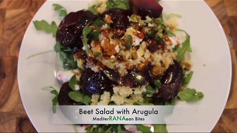 Beet salad with goat cheese and pistachio