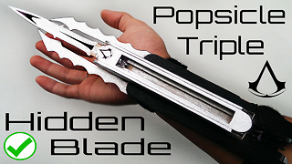Assassin's Creed TRIPLE Hidden blade made from popsicle stick - Video