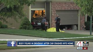 Car into house, man dead outside in north KCMO - Video
