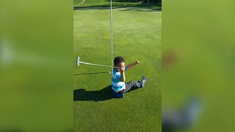 Cute Kid Golfs By His Own Rules