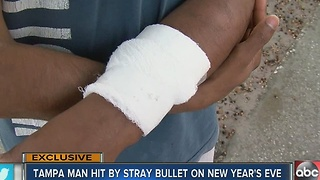 Man shot by celebratory gunfire thankful to be alive - Video
