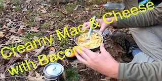 Cooking Bacon Mac and Cheese in the Backcountry
