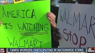 Tampa workers participating in nationwide strike - Video