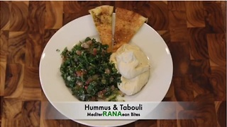 Baked hummus dip with tabouli topping