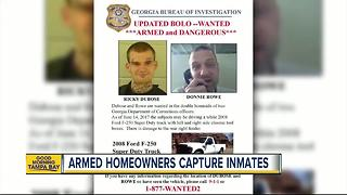 Homeowners with guns capture escaped inmates - Video