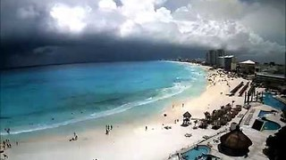 Timelapse Shows Clouds Forming Over Cancun Beach - Video