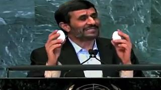 Ahmadinejad making omelette in UN General Assembly - Funny - Video