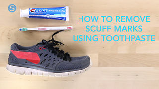 How to remove scuff marks from your shoes using toothpaste - Video