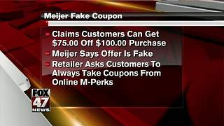 Meijer warns customers about bogus coupon