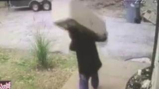 Thief caught on camera stealing Christmas tree from front porch - Video