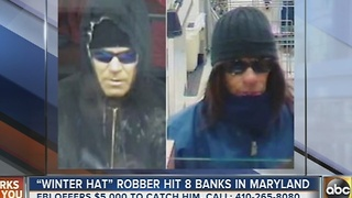 Winter hat robber sought by FBI Baltimore in 8 Maryland banks - Video