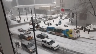 Slow-Mo Pile-up On Montreal's Snowy Streets - Video