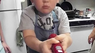 Toddler Surprised By The Power Of A Handheld Blender - Video