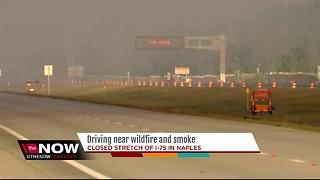 Driving near wildfire and smoke off I-75 in Naples - Video