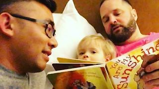 Dads Sing Bedtime Lullaby to Their Adopted Daughter - Video
