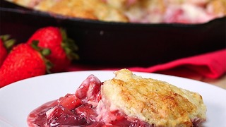Strawberries and Cream Skillet Cobbler - Video