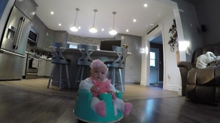 Baby Loves To Ride On A Vacuum Robot - Video