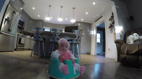 Baby Loves To Ride On A Vacuum Robot