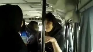 Happy students are dancing on the bus - Video
