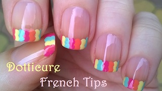 Colorful Dot French Tip Nails - Video