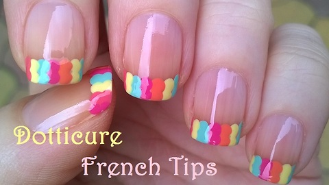 Colorful Dot French Tip Nails