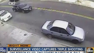 Police release surveillance video showing triple shooting in west Baltimore - Video