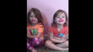 Twin girls discover lipstick, hilarity ensues - Video