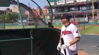 Stipe Miocic Nails Homerun During Cleveland Indians Batting Practice - Video