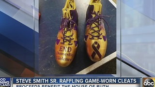 Steve Smith Sr. raffling cleats for the House of Ruth - Video
