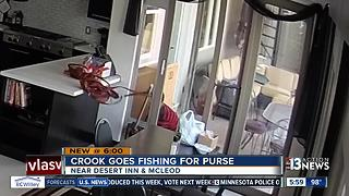Crook goes fishing, steals purse with pole through dog door of Las Vegas home - Video