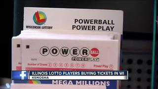 Kenosha shops see Illinois lotto players crossing the border after state shut down their lotto - Video
