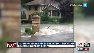 VIDEO: Water main break floods street near Plaza - Video