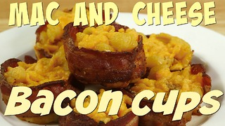 Easy recipe for baked macaroni and cheese: Mac and Cheese Bacon Cups - Video
