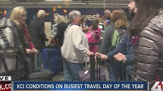 KCI conditions on busiest travel day of the year - Video