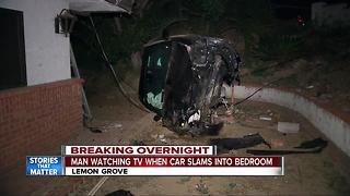 Car takes down pole, hits house in Lemon Grove - Video