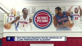 New Pistons reading room unveiled at Clark Preparatory Academy - Video