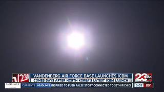 Missile test conducted at Vandenberg Air Force Base Wednesday morning - Video