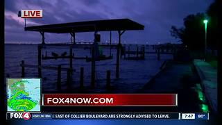 Calm before the storm at night falls in Ft. Myers on Saturday evening ahead of Hurricane Irma - Video