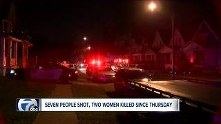 Seven people shot, two women killed since Thursday