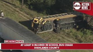 Students, bus driver injured in school bus crash involving tractor trailer in Highlands County - Video