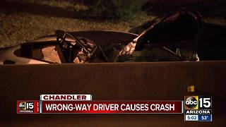 One taken to hospital after wrong-way crash in Chandler - Video