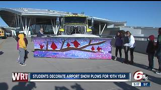 Students decorate Indianapolis airport snowplow - Video