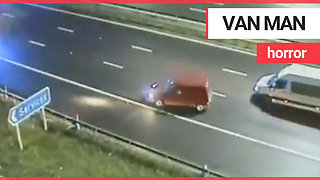 Police car spins drunk van driver going wrong way up motorway