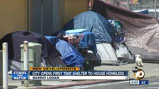 San Diego opens massive tent to house homeless - Video