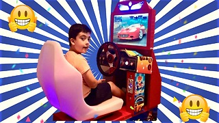 OutRun Arcade Machine Play with Young Gamer  - Video